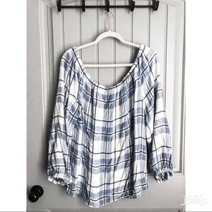 Two by Vince Camuto Flannel Off Shoulder Top